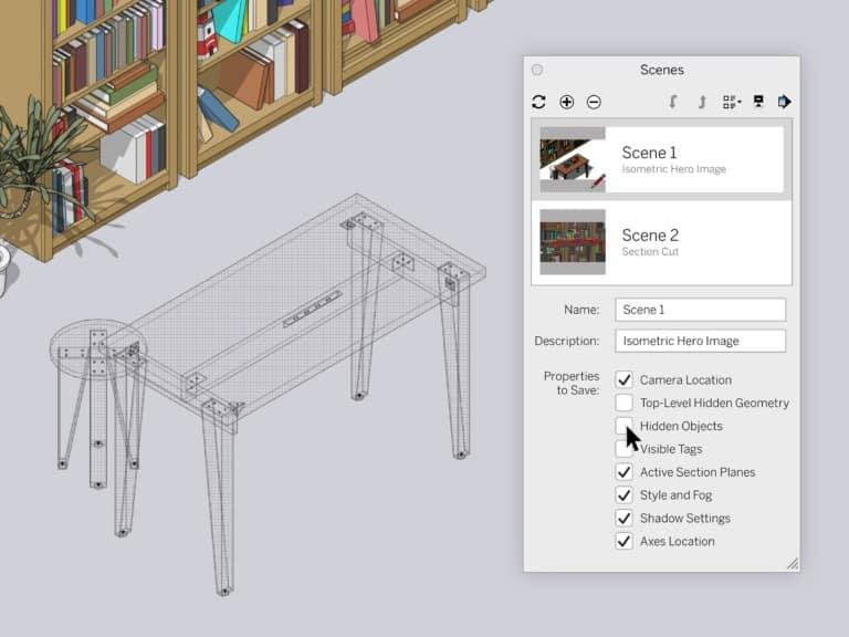 SketchUp 2020.1 : Szenen : Sichtbarkeit von Elementen